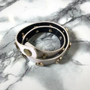 Jewelry - White & Gold Stud Faux Leather Wrap Bracelet